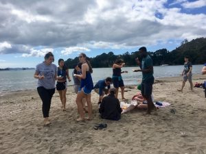 Latin School of Chicago students enjoying fish and chips on the beach with Haka Educational Tours