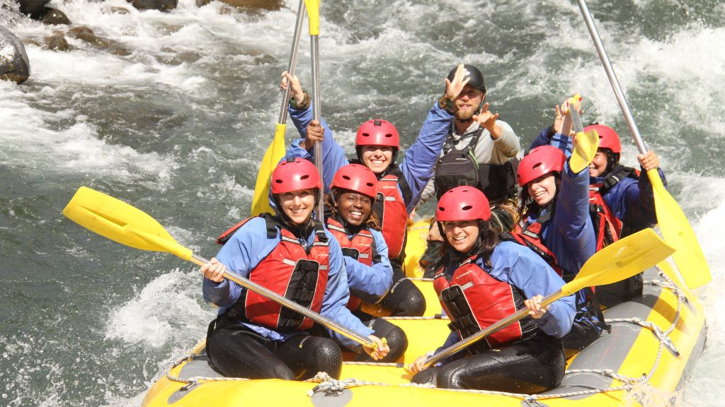 CCSU rafting on the Tongariro River while on tour in New Zealand